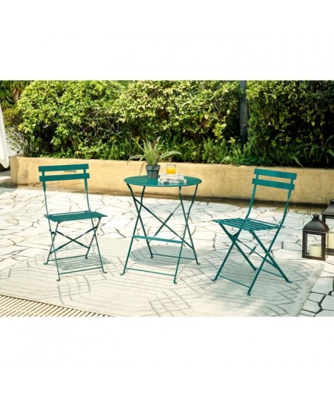 FINLANDEK - Set bistrot table avec 2 chaises - Ø 60 x 71 cm - Vert foncé