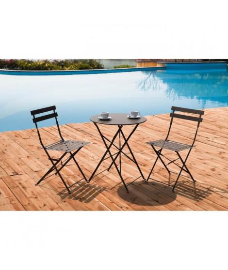 FINLANDEK - Set bistrot table avec 2 chaises - Taupe - HIENO