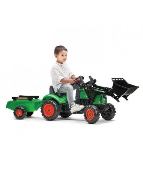 FALK - Tracteur a pédales Supercharger vert avec pelle avant, capot ouvrant et remorque inclus