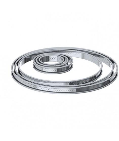 DE BUYER Cercle a tarte aux bords roulés perforés - Inox - Ø 8 x H 2 cm - Tous feux dont induction