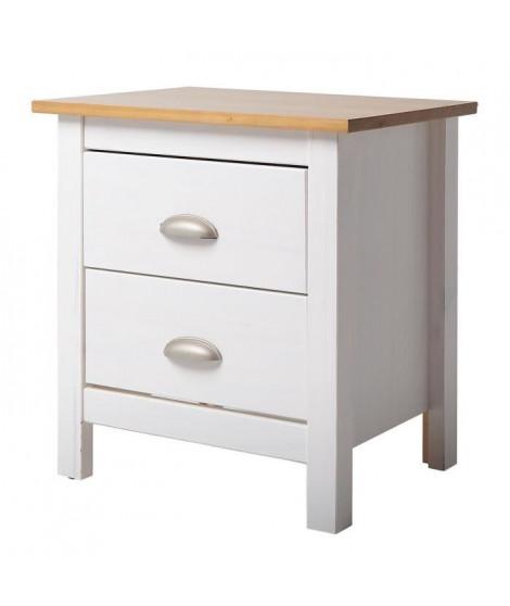 COUNTY Chevet 2 tiroirs - Décor chene et Blanc - L 46 x P 35 x H 49,5 cm