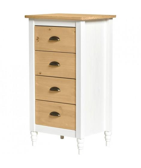 IRENE Chiffonier 4 tiroirs - Décor blanc ciré - L 46 x P 35 x H 83 cm