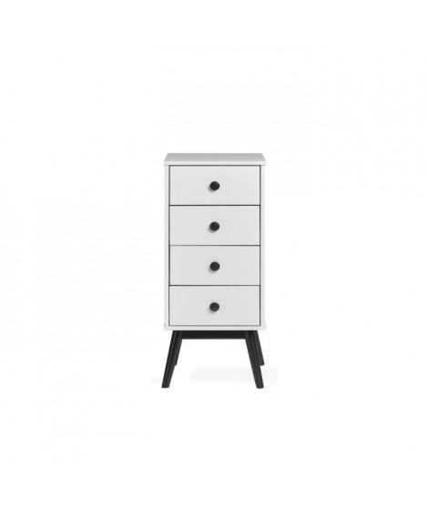 CLEMENCE Chiffonnier 4 tiroirs - Décor blanc et pieds noir - L 40 x P 40 x H 94 cm