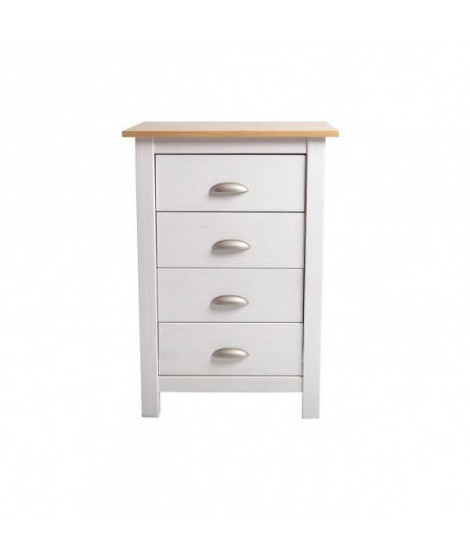 COUNTY Chiffonnier 4 tiroirs - Décor chene et Blanc - L 46 x P 35 x H 80 cm