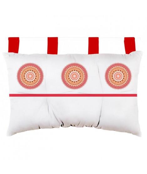 SOLEIL D'OCRE Tete de lit Mandala en coton - 45x70 cm - Orange corail