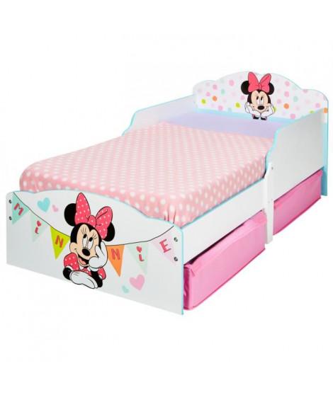 Minnie Mouse - Lit enfant en bois 140 * 70 cm avec tiroirs de rangement sous le lit