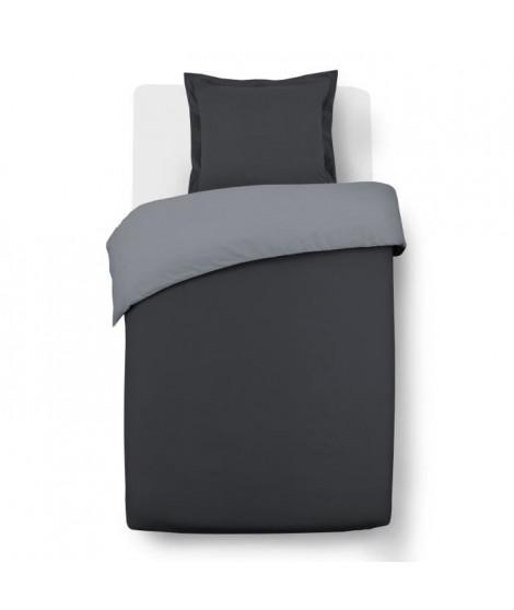 VISION Parure de couette bicolore 100% coton - 1 housse de couette 140x200cm et 1 taie d'oreiller 65x65cm - Gris / Anthracite