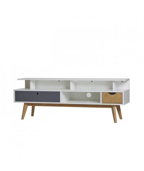 LISS Meuble TV 2 tiroirs - Blanc et gris anthracite ciré - L 139 x P 37 x H 50 cm