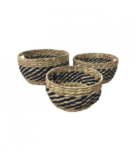 Lot de 3 pots tréssés en jacinthe d'eau avec structure en métal - Ø28 / Ø33 / Ø38 cm - Naturel et Indigo
