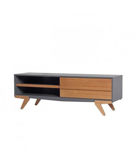 TINA Meuble TV 1 porte - Décor gris ciré - L 130 x P 39 x H 43 cm
