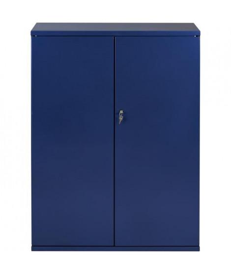PIERRE HENRY Armoire de bureau JOKER style industriel - Métal bleu nuit nacré - L 80 x H 105 cm