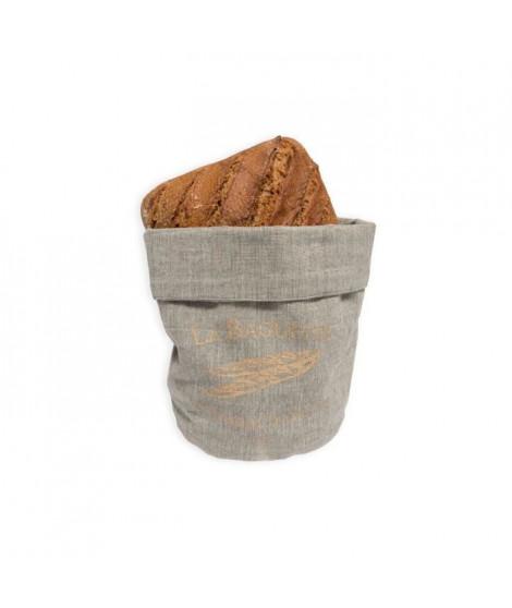 SOLEIL D'OCRE Corbeille petit déjeuner Baguette - Ø20x13 cm - Gris et or