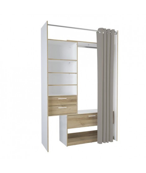 VALBY Kit rideau 1 colonne 60 cm avec 1 Penderie 2+1 tiroirs - Décor Chene Kronberg blanc - L 161,6 x H 218,3 x P 50 cm
