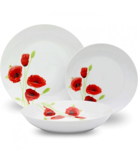 Service de Table 18 pieces en porcelaine Coquelicot rouge et blanc