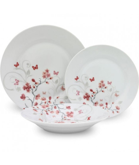 Service de Table 18 pieces en porcelaine Papillons rouge