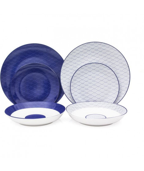 Service de Table 18 pieces en porcelaine 2 motifs Mix and Match bleu et blanc
