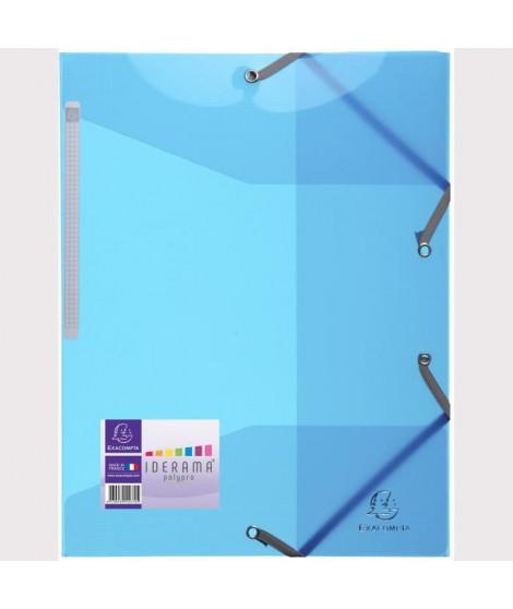 EXACOMPTA - Chemise a élastiques 3 rabats - 24 x 32 - Polypropylene translucide lisse brillant 5/10eme - Couleur Bleue turquoise