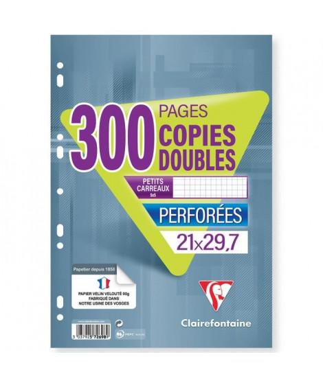 CLAIREFONTAINE - Copies doubles blanches - Perforées - 21 x 29,7 - 300 pages 5 x 5 - Papier P.E.F.C 90G