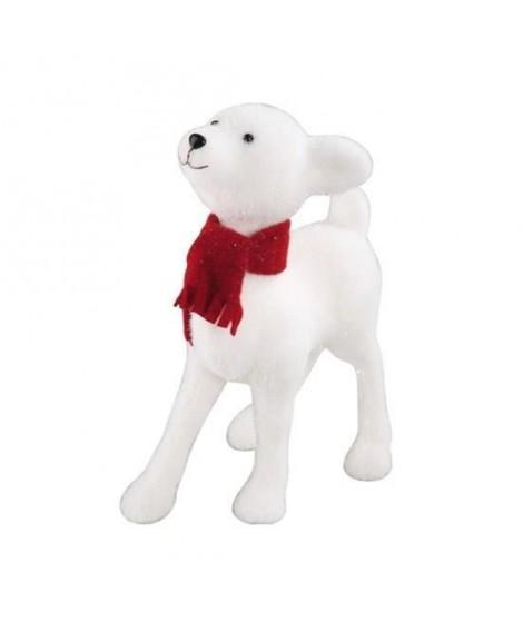 Faon couleur blanche avec écharpe rouge h26cm