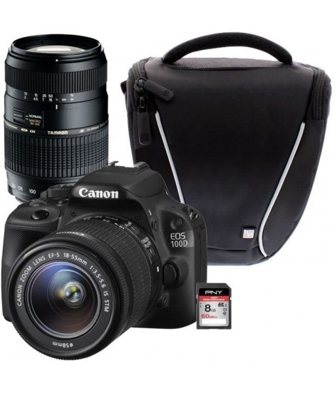CANON EOS 100D + 18-55 IS STM + TAMRON 70-300mm + Sacoche + Carte 8 Go