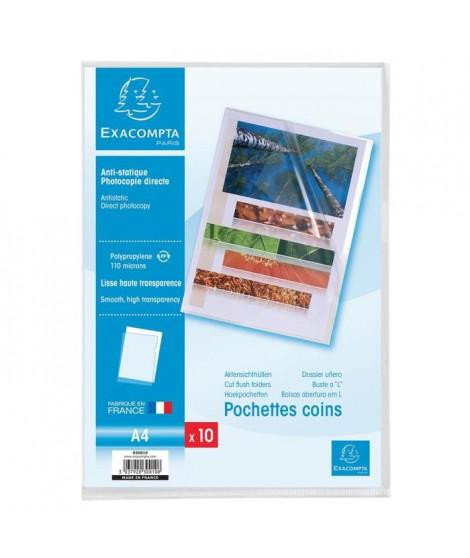 EXACOMPTA 10 pochettes Coins - 210 x 297 mm - Polypropylene lisse incolore 110µ avec encart