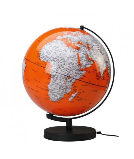 SIGN Globe politique lumineux Déco Ø 30 cm - Corail et blanc