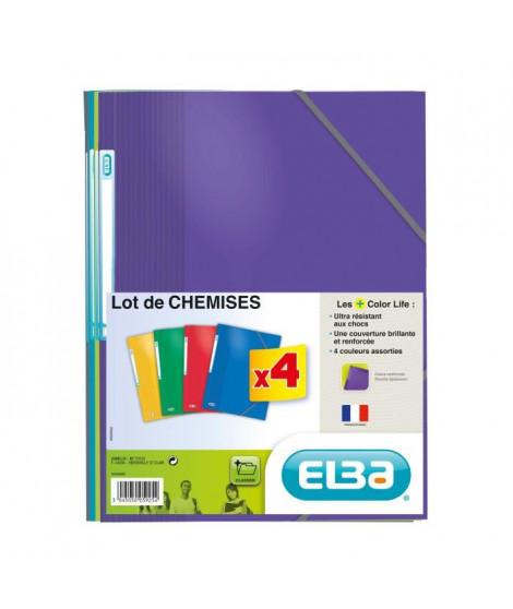 ELBA Lot de 4 chemises 21 x 29,7 cm Color Life - Carte lustrée pelliculée - Coloris assortis