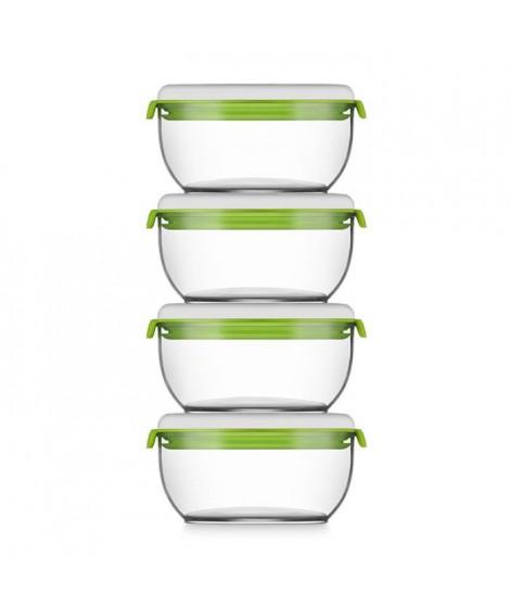 FOSA Lot de 4 récipients de mise sous vide alimentaire 40600 - 600 ml - Blanc et vert