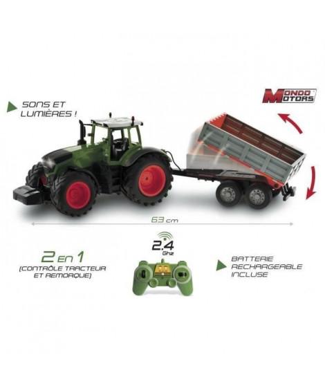 MONDO Tracteur télécommandée - Avec remorque - Sons et lumieres - Echelle 1/16eme - 63 cm - Mixte - A partir de 3 ans