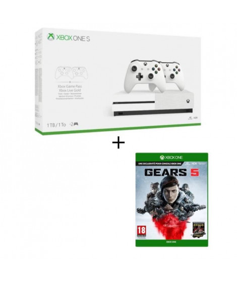 Xbox One S 1 To 2 manettes + Jeu Xbox One Gears 5