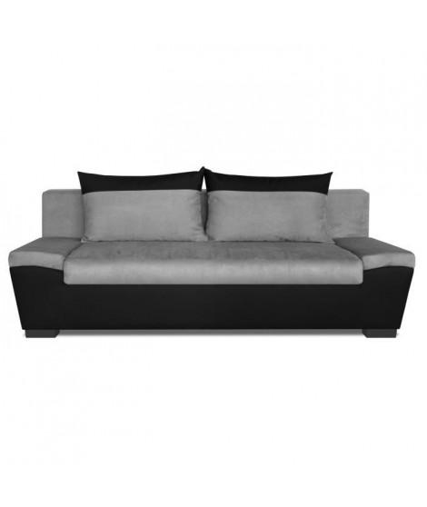 ABBY Banquette convertible - 3 places - Simili et tissu - Noir et gris - Contemporain - L 209 x P 92 cm