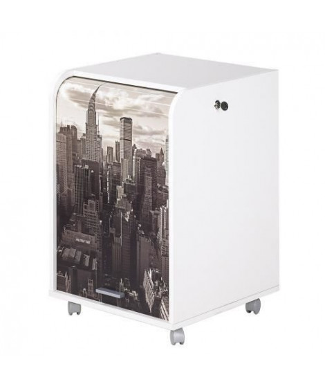 Caisson de bureau 2 tiroirs New York Contemporain - Blanc - L 47,2 cm