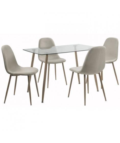LORENTZ Ensemble table a manger 4 a 6 personnes avec plateau verre trempé + 4 chaises tissu beige - Contemporain - L 120 x l …