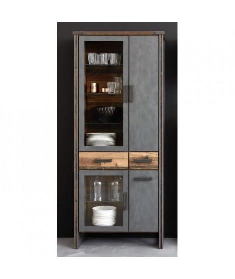 PRIME Vitrine 4 portes - 2 tiroirs - Décor bois patiné gris - L 89 cm