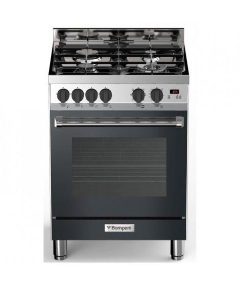 BOMPANI BTECH66NR - Cuisiniere table gaz - 4 foyers - Four électrique multifonction - Catalyse - 58 L - B - L 60 x H 80 cm - …