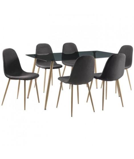 FABIAN Ensemble table a manger 6 a 8 personnes style contemporain en verre fumé + 6 chaises tissu gris - L160 x l70 cm