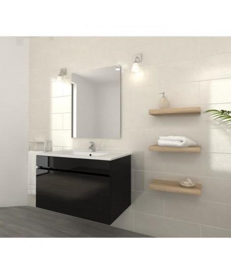 LUNA Ensemble salle de bain simple vasque L 80 cm - Noir brillant