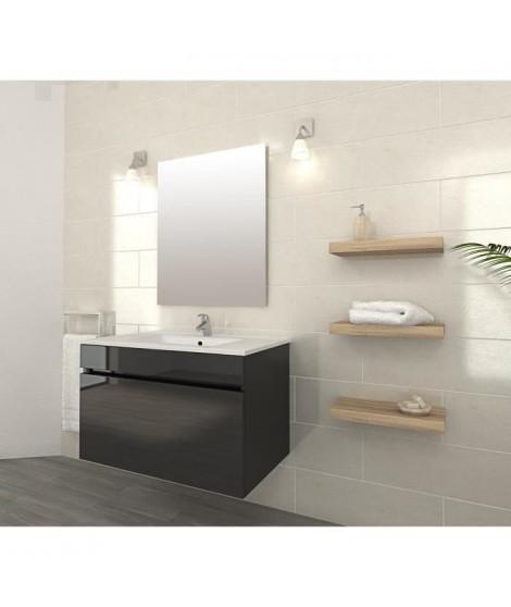 LUNA Ensemble salle de bain simple vasque L 80 cm - Gris brillant