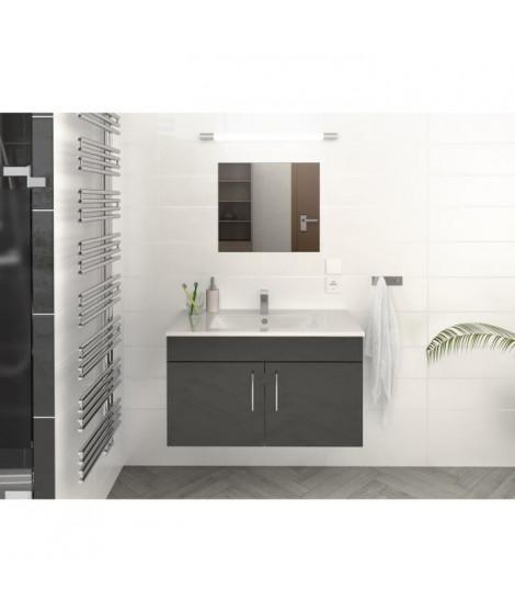 LIMA Ensemble salle de bain simple vasque L 80 cm - Gris brillant