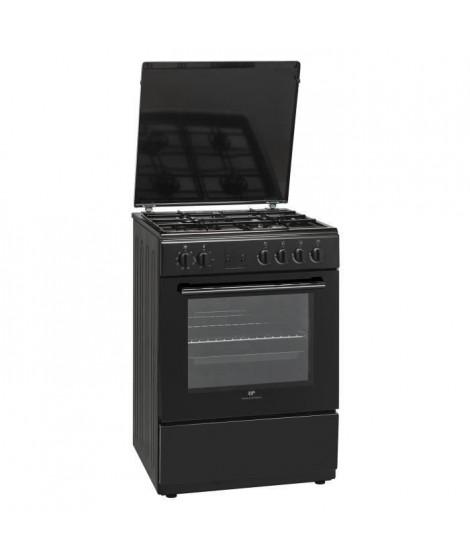 CONTINENTAL EDISON CECG6060FCB-Cuisiniere table gaz-4 foyers-Four électrique chaleur brassée-Catalyse-56 L-L 60 x H 85 cm-Noir