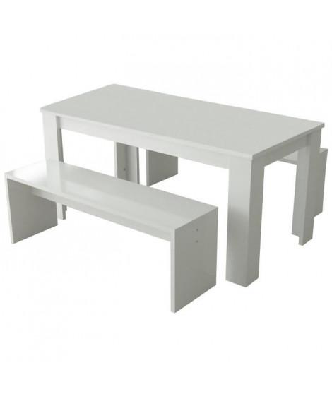 NEW MILANO Table a manger de 6 a 8 personnes + 2 bancs style contemporain blanc laqué brillant - L 160 x l 80 cm