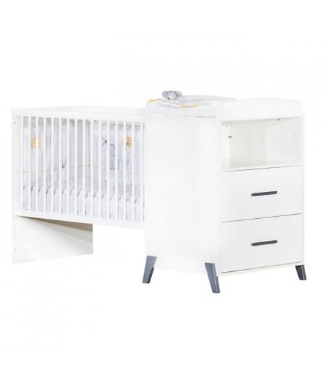 Babyprice - JOY GRIS - Lit Combiné Evolutif 120x60 en 90x190