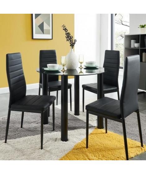BERENICE Ensemble table a manger ronde en verre 4 personnes 90 cm + 4 chaises en simili - Noir