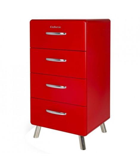COBRA Chiffonnier style contemporain mélaminé et laqué rouge - L 50 cm