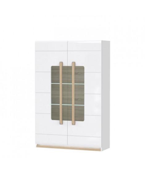 HELSINKI Vitrine 2 portes vitrées - Décor chene gris - 119,9 x 180,5 x 41,4 cm