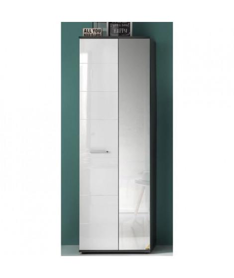 SMART Dressing contemporain mélaminé gris et blanc brillant - L 61 cm