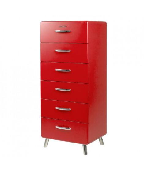 COBRA Chiffonnier style contemporain mélaminé et laqué rouge - L 56 cm