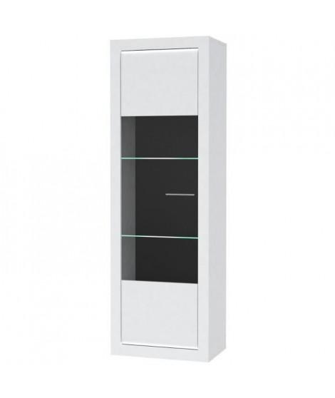 L-LIGHT Vitrine contemporain mélaminé blanc mat et brillant + poignée en métal décor aluminium - L 63 cm