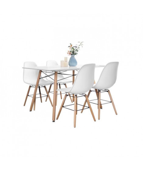 Ensemble table a manger 4 a 6 personnes LONDON + 4 chaises scandinaves ARGUS V1 - Blanc mat - L 120 x l 80 et L 51,5 x P 46 cm