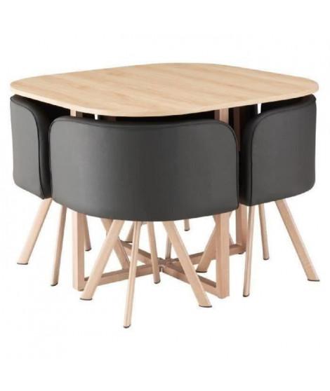 LUND Ensemble table a manger 4 personnes style industriel décor chene + 4 chaises simili noir - L 100 x l 100 cm